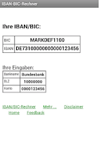 Screenshot of IBAN-BIC-Rechner