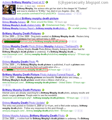 Fig1: Google search results for Brittany Murphy