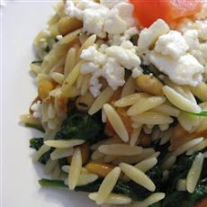 Orzo Pasta with Wilted Spinach, Feta and Pine Nuts