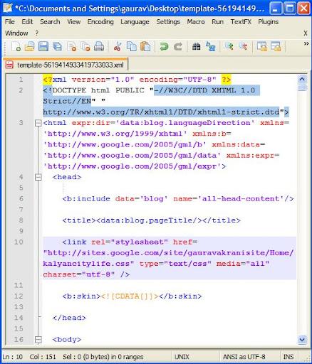 external css blogger template