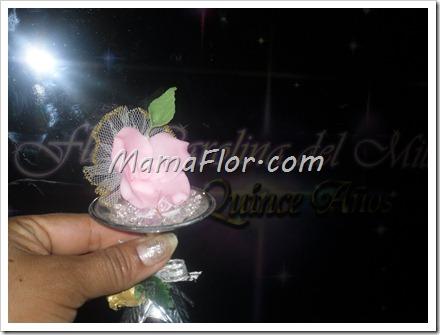 Recordatorio de rosa para quinceanera