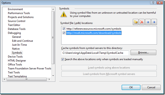Configure Visual Studio to Debug .NET Framework Source Code