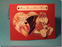 Some Bunny Loves You - Valentine's card with Iris fold heart and 3-d decoupage bunny
