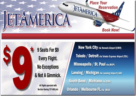 Jet America $9 Flights - Jetamerica Low Fares