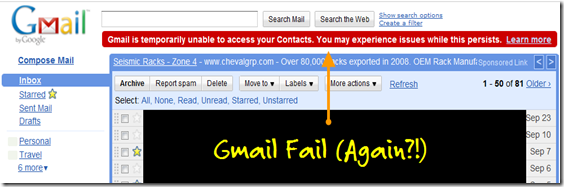 Gmail Contacts Down