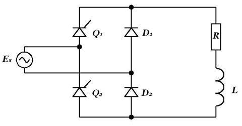 Bridge rectifier with two thyristors and two diodes
