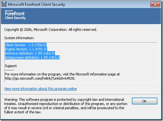 MicrosoftForefrontClientSecurity