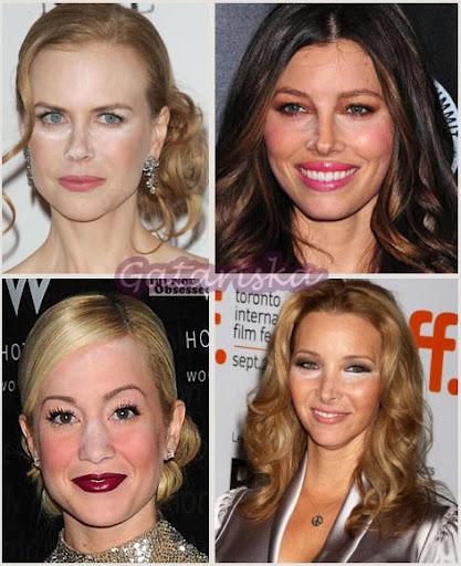 Nicole Kidman, Jessica Biel, Kellie Pickler e Lisa Kudrow manchadas com pó invisível