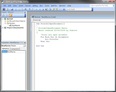 MS Word Visual Basic Editor Macro
