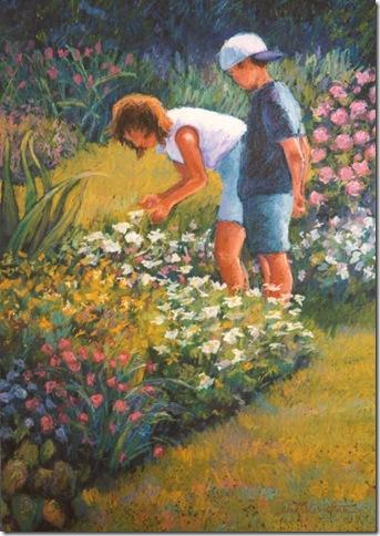 Grandpa's Garden - oil pastel painting by Debra Clemente