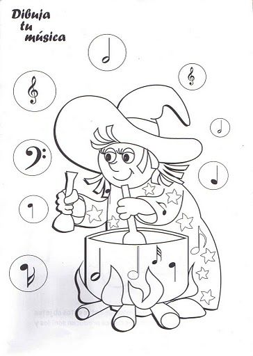 es un cuaderno de música para niños con dibujos para colorear
