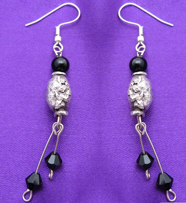 PMC handmade fine silver artisan earrings with black onyx beads and swarovski crystals