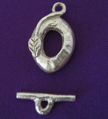 Handmade artisan fine silver Leaf Toggle