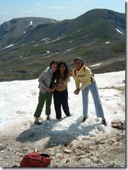 Three Girls on HIKE in Snow
