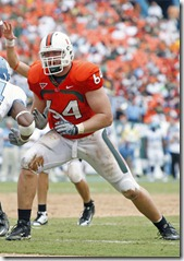 27 September 2008: University of Miami offensive lineman Jason Fox (64) blocks against the University of North Carolina in Carolina's 28-24 victory at Dolphin Stadium, Miami, Florida.