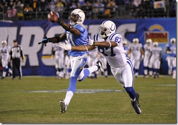 03 January 2009:  San Diego&#39;s Antonio Cromartie #31 breaks up a pass intended for Indianapolis&#39; Reggie Wayne #87 during the San Diego Chargers&#39; 23-17 playoff victory over the Indianapolis Colts at Qualcomm Stadium in San Diego, CA.