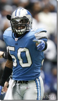 31 December 2006: Lions linebacker Ernie Sims. The Detroit Lions defeated the Dallas Cowboys 39 to 31 at Texas Stadium in Irving, Texas