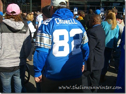 Lions fan rocking the Germane Crowell authentic at the Lions vs. Jets game, November 7th 2010