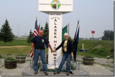 Jerry and Nancy at the end of the Alaska Highway, Delta Junction, AK