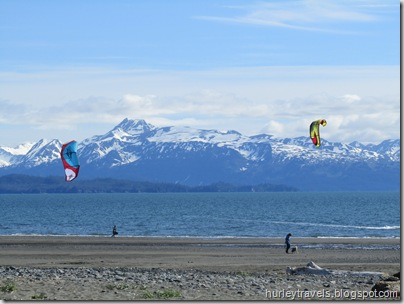 Our home-spot view at Mariner's Park, Homer, AK. The windsurfers had lots of fuel behind them. Maybe more on this tomorrow.