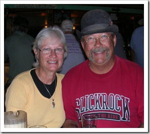 Nancy and Jerry out for pizza with a group of rving friends in 2008.