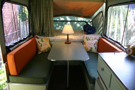 Tent trailer ideas on pinterest tent trailers retro for Pop up camper interior designs