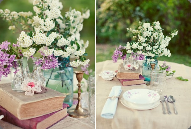 wedding-table-setting-ideas-vintage-books-blue-mason-jar-centerpieces-white-flowers the sweetest occasion
