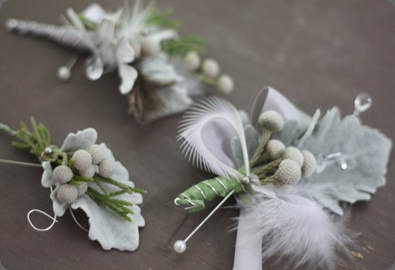 dusty miller, silver berry, silver wire, crystals, feathers  holly chapple