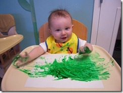 Fingerpainting at daycare