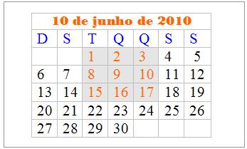 calendário de junho de 2010, potências e curiosidades