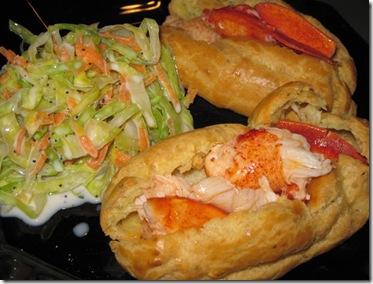 'Lobster rolls' in tarragon choux eclairs
