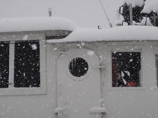 "Yup. Icicles on are hanging from the ""eaves"" on our boat."