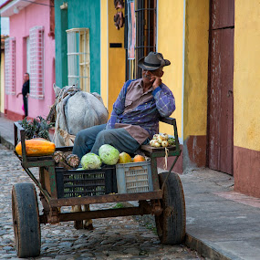 Street Cart Vendor by Terry Scussel - People Portraits of Men ( trinidad )
