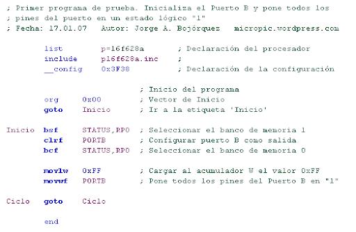 Estructura de código en ensamblador