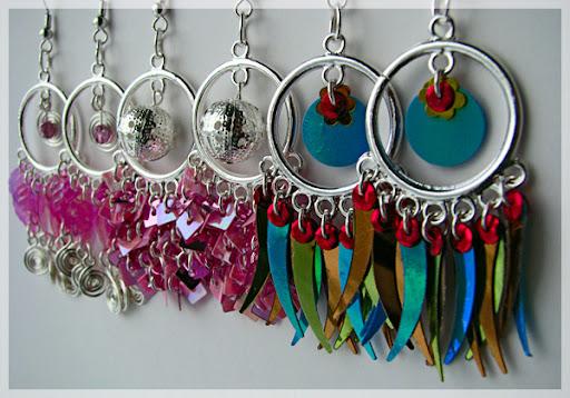 earrings handmade paiette pink cute