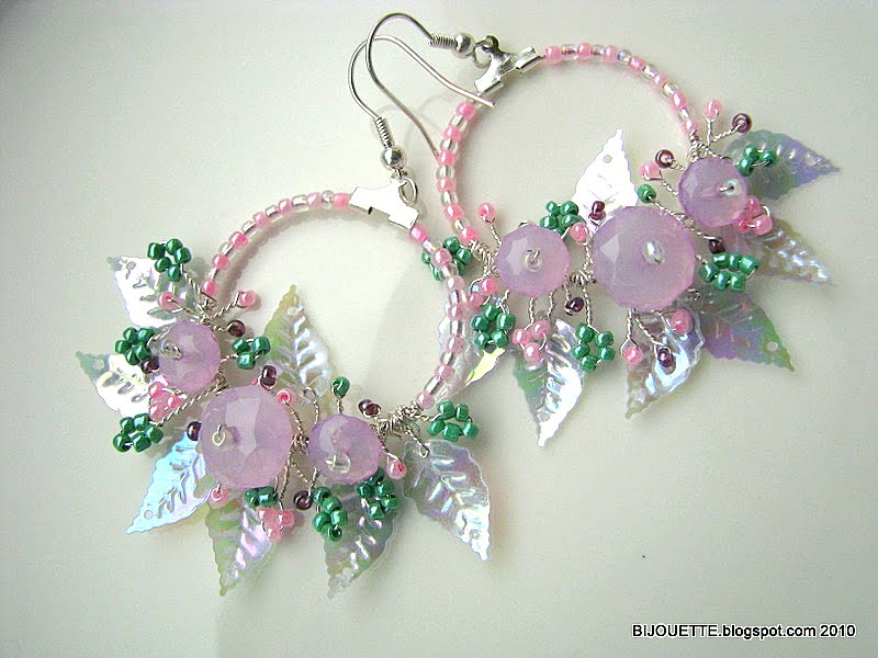 handmade spring wire pink green purple earrings