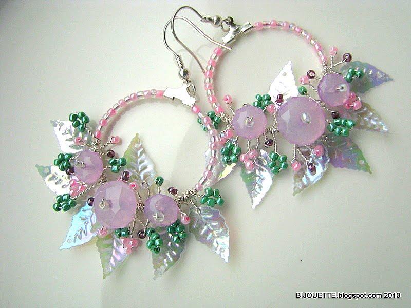 handmade spring wire pink green purple earrings