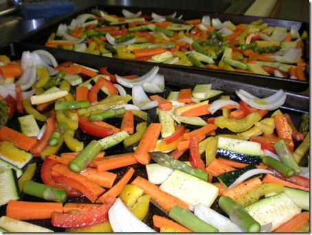 Veggies ready for roasing for the pasta primavera recipe that I forgot to take a picture of but was the best ever.