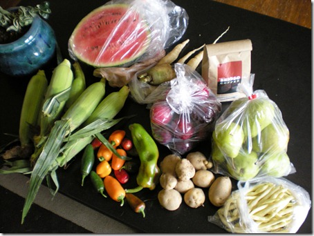 """""""Sugar Baby"""" watermelon, carrots, plums, coffee, pears, yellow beans, potatoes, a mix of sweet peppers, 2 jalapenos, corn"""
