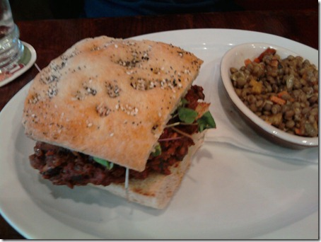 vegan sloppy joe and lentil salad. This meal totally rocked.