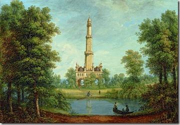 Ferdinand Runk, Minaret v parku zámku Lednice, kolem r. 1822, krycí barva
