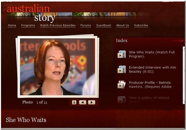 25 6 2010 Australian Story web page