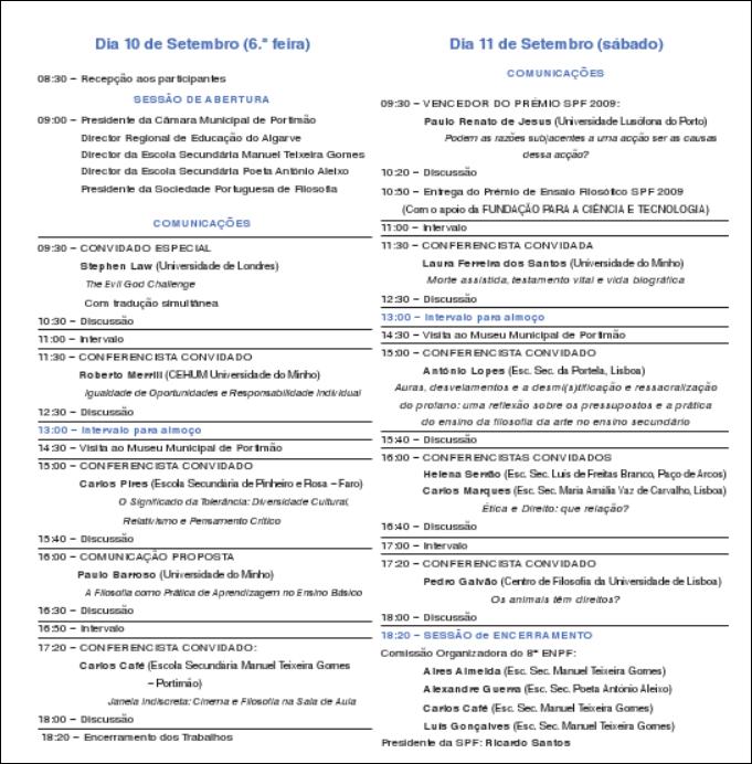 programa do 8º encontro de professores de filosofia em Portimão