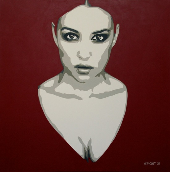 Monica Belucci portrait painting by Luc Vervoort (2)