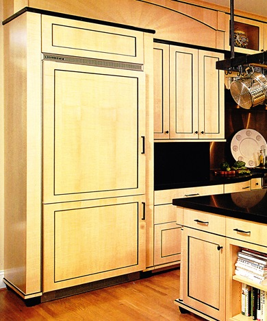 Matching Single Door Refrigerators Panels With The Kitchen Cabinets