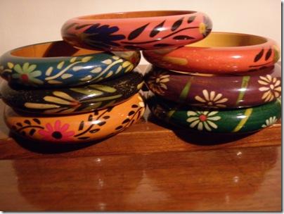 wooden handdrawn bangles
