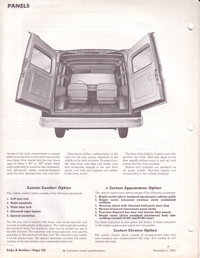 Description et spécifications Chevrolet GMC 1960-1966 Image0-9