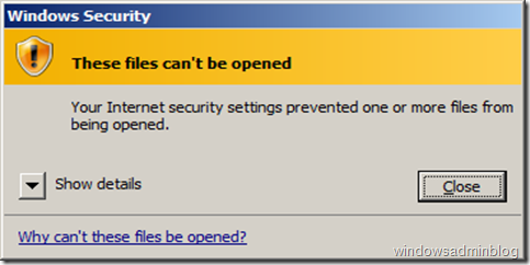 These files can't be opened. Your Internet security settings prevented one or more files from being opened