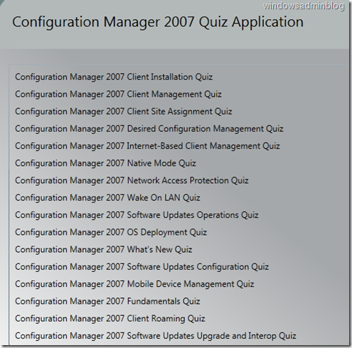 SCCM 2007 Quiz Application