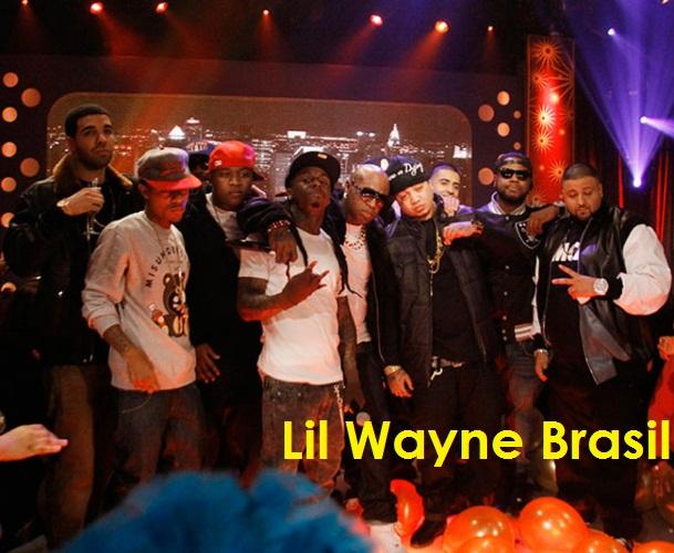 Foto do grupo Young Money na apresentação de anovo novo de 2011 do BET 106 & Park